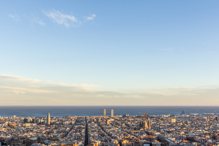 Barcelona cityscape view from the Carmel's bunkers, Spain