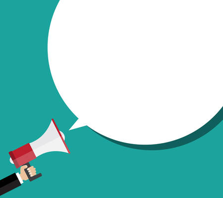 Hand holding megaphone with bubble speech. Flat design  business illustration concept