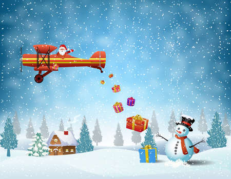 Illustration pour light plane with Santa claus  fly over the forest, house, snowman and throws gifts . . Christmas card,invitation,background,design template. - image libre de droit