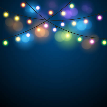 Christmas Fairy Lights Illustration.Glowing Lights Colorful Fairy Lights Background Christmas