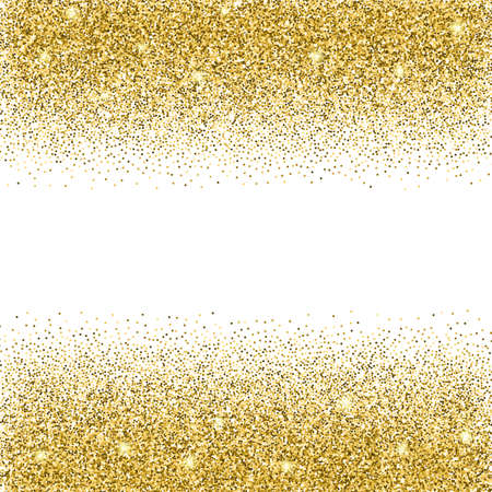 Illustration pour Gold glitter background. Gold sparkles on white background. Creative invitation for party, holiday, wedding, birthday. Vector illustration. Glitter seamless texture. Trendy modern vector illustration - image libre de droit
