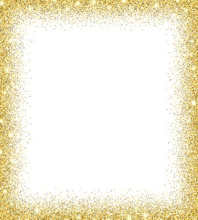 Illustration for Gold glitter background. Gold sparkles on white background. Creative invitation for party, holiday, wedding, birthday. Trendy modern vector illustration - Royalty Free Image