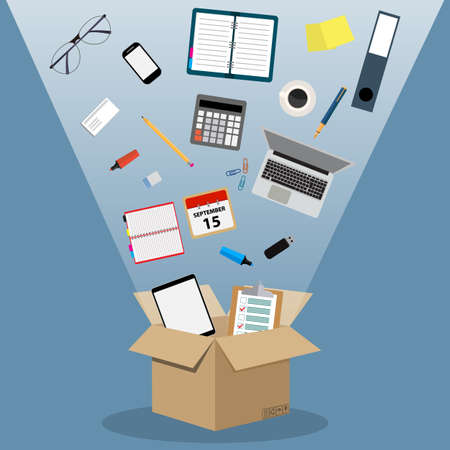 Concept of moving into a new office, cardboard box with documents, laptop, calculator, calendar, tablet PC, coffee cup. vector illustration in flat design on blue background