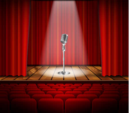 Illustration pour Metallic silver vintage microphone standing on empty stage under beam of spotlight light. mic on podium in the dark against red curtain backdrop. vector art image illustration, retro design - image libre de droit