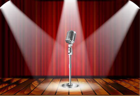 Metallic silver vintage microphone standing on empty stage under beam of spotlight light. mic on podium in the dark against red curtain backdrop. vector art image illustration, retro design