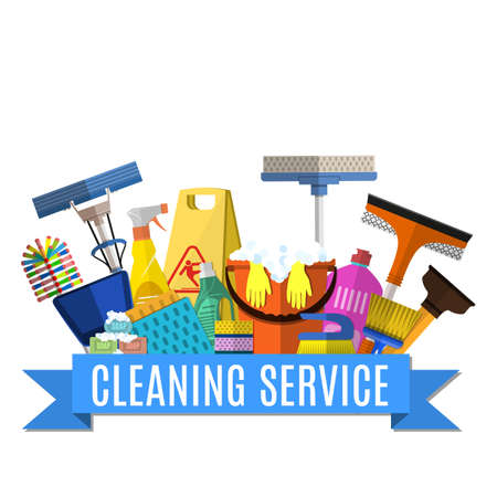 Ilustración de Cleaning service flat illustration. Poster template for house cleaning services with various cleaning tools. Caution wet floor sign, bucket, mop, sponge, brush, detergent product. Vector illustration - Imagen libre de derechos