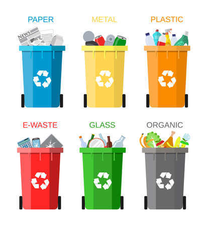 Illustration pour Waste management concept. Waste segregation. Separation of waste on garbage cans. Sorting waste for recycling. Disposal waste. Colored waste bins with trash. Vector illustration in flat design - image libre de droit