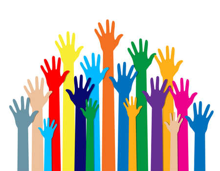 Illustration pour Group of hands of different colors. cultural and ethnic diversity. vector illustration in flat style on white background - image libre de droit