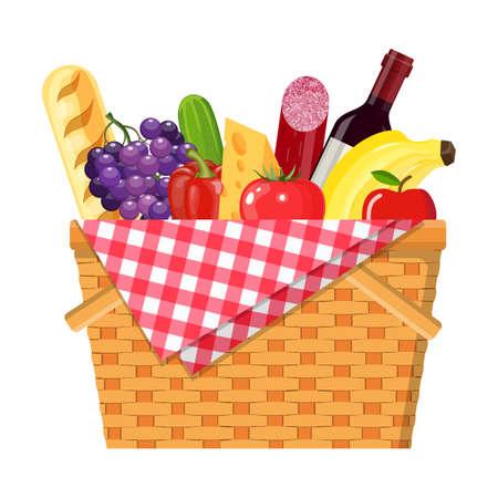 Illustration pour WIcker picnic basket - image libre de droit