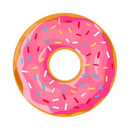 Ilustración de donut with pink glaze. donut icon, vector illustration in flat style - Imagen libre de derechos