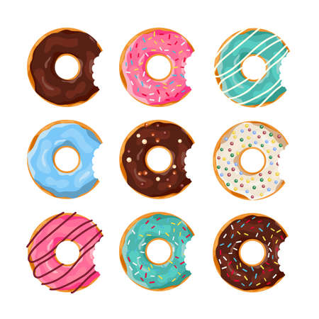 Ilustración de Set of colorful Donuts with a mouth bite isolated on white background. Top View Doughnuts collection into glaze for menu design, cafe decoration, delivery box. vector illustration in flat style - Imagen libre de derechos
