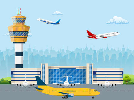 Ilustración de Modern building of airport terminal with control tower. Runway with planes. Vector illustration in flat style - Imagen libre de derechos