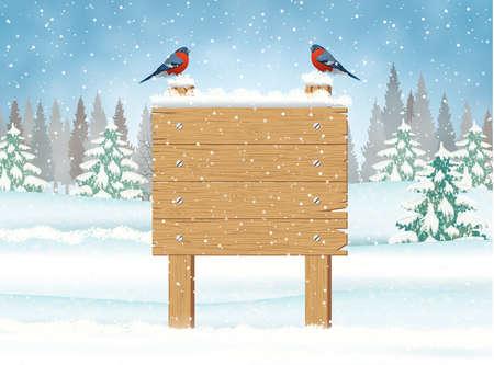 Illustration pour Merry Christmas Wooden Sign - image libre de droit