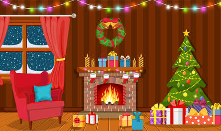 Illustration for Christmas interior of the living room - Royalty Free Image