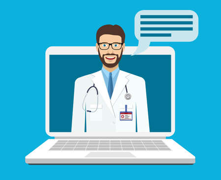 Illustration pour Online medical consultation and support. Online doctor. Vector illustration in flat style - image libre de droit