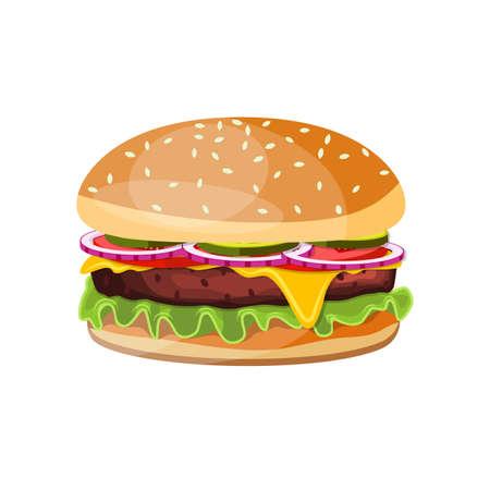 Illustration for Delicious hamburger icon  Vector illustration. - Royalty Free Image