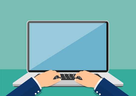 Ilustración de Laptop and hands on the keyboard. Vector illustration. - Imagen libre de derechos