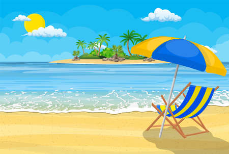 Illustration for Landscape of wooden chaise lounge - Royalty Free Image