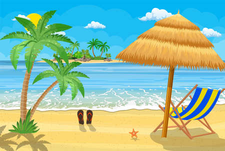 Illustration for Landscape of wooden chaise lounge, palm tree on beach. Umbrella . Sun with clouds. Day in tropical place. Vector illustration in flat style - Royalty Free Image