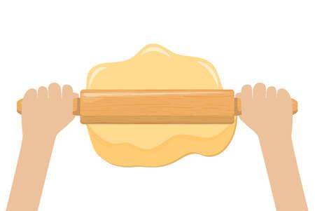 Illustration pour Hand rolling dough with a rolling pin vector illustration - image libre de droit