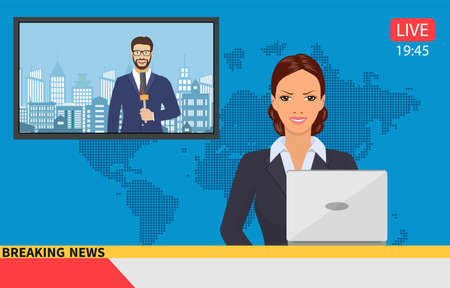 Illustration pour News anchor broadcasting the news with a reporter live on screen. Vector illustration in flat style - image libre de droit