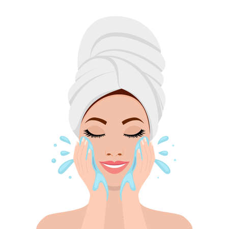 Illustration pour Beautiful woman in process of washing face. icon isolated on white background. SPA beauty and health concept. Vector illustration in flat style - image libre de droit