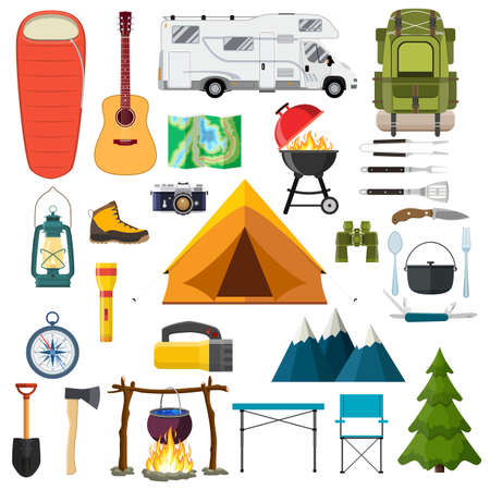 Illustration for Mountain hike elements. forest camping set icon collection. Mountains, tent, binoculars, campfire, barbecue, flashlight, lantern, camera Tourist camp tools Vector illustration in flat style - Royalty Free Image