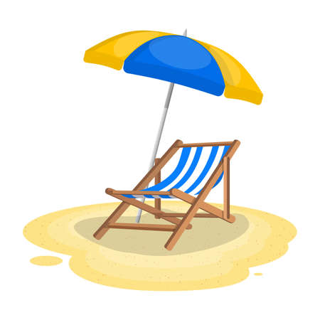 Illustration pour Umbrella and sun lounger on the beach. Vector illustration in flat style - image libre de droit