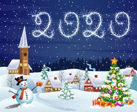 Illustration pour house in snowy Christmas landscape at night - image libre de droit