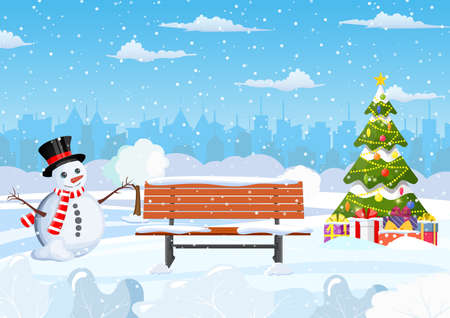 Illustration for snowy winter city park - Royalty Free Image