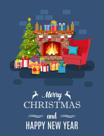 Illustration pour Christmas fireplace room interior - image libre de droit