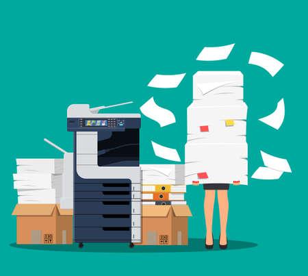 Illustration pour Businesswoman in pile of papers. - image libre de droit