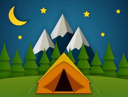 Illustration pour Summer camp. Landscape with yellow tent, - image libre de droit