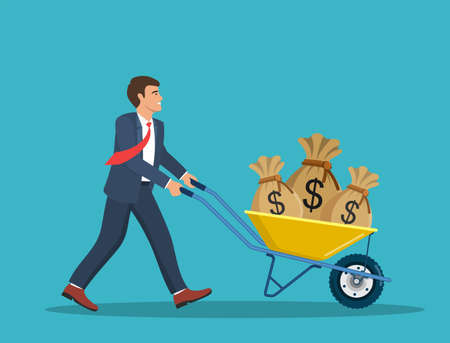 Illustration for Businessman push cart with money bags. - Royalty Free Image