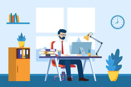 Illustration pour business man working on computer at the desk in office - image libre de droit