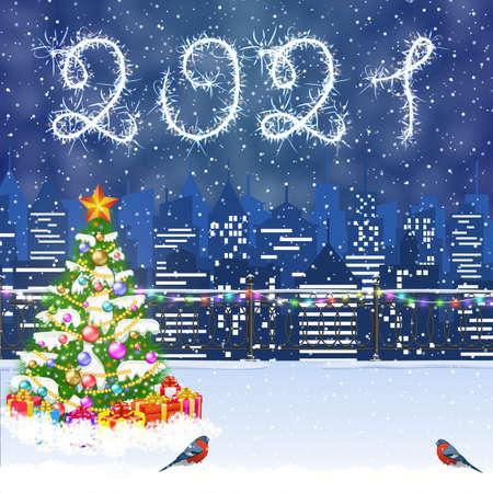 Illustration pour Christmas Winter Cityscape - image libre de droit