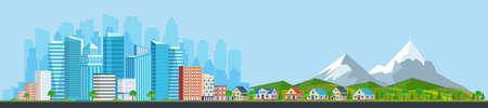Illustration pour Landscape with buildings, mountains - image libre de droit