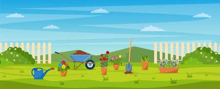 Illustration pour garden with green grass, - image libre de droit