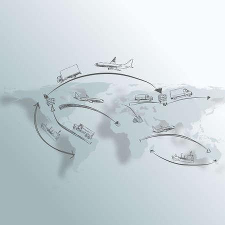 Logistics technology concept Hand draw Sketch