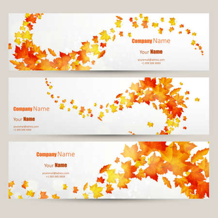 Vector set of colorful autumn leaves banners illustrationのイラスト素材