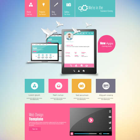 Flat vector website template with computer screen, smartphone, tablet icons set