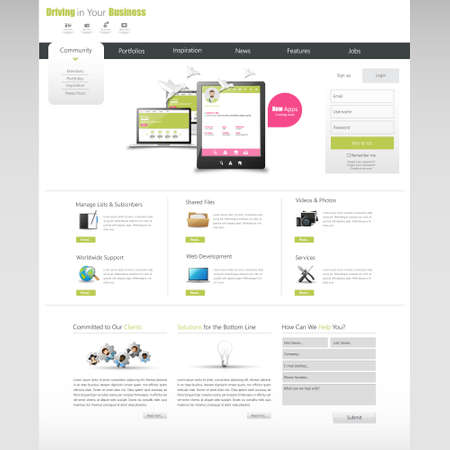 Clean Business Professional Website Template, Eps 10, Vector illustration.