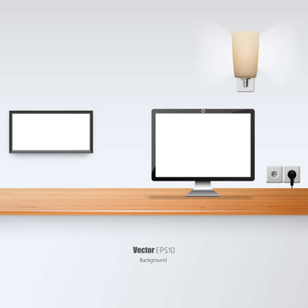 Office Desk Vector Illustration. Blank Flat screen and Picture Border.