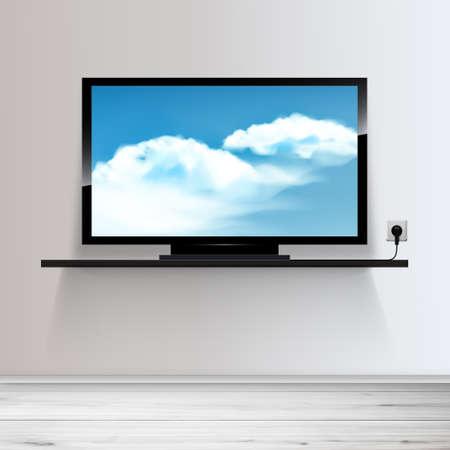 Illustration pour Vector HD TV on shelf, realistic illustration, sky with clouds on screen. - image libre de droit