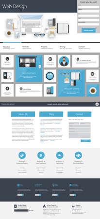 One page Falt Website Design Template.