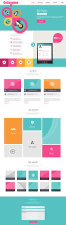 One Page Business website design template. Vector Design.