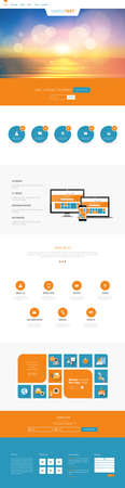 One page website design template. All in one set for website design templates harm includes one page website, flat design concept and illustrations.