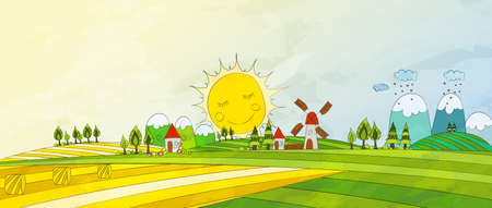 Cartoon Countryside. Summer Landscape. Vector illustration.