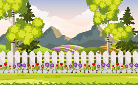 Illustration for Beautiful Vector Backyard, Flower Bed, Trees and Fence. - Royalty Free Image