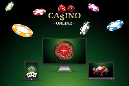 Banner, template site for playing online in poker, casino. Background with roulette, casino chips, playing cards